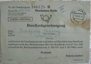 Historische Rundfunkgenehmigung Deutsches Reich 1948 Hamburg
