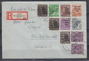 Berlin Orts-Einschreiben 6.9.48 mit MiF 4,5,6 + Bizone 2x36I,2x37II + SBZ 182,183,190 (140.-)