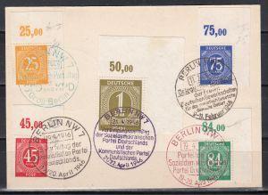 Kontrollrat Karte mit MiNo. 912,920,922,927,931,934,936,937 Platte/Walze Ecken oben rechts mit SSt Berlin rot,grün,violett,schwarz (55.-)