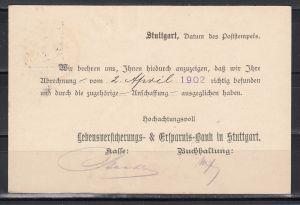 """Dt.Reich Ganzsache MiNo. P 58X Stuttgart 1902 mit rs. Zudruck """"Lebensversicherungs-&Ersparnis-Bank in Stuttgart"""