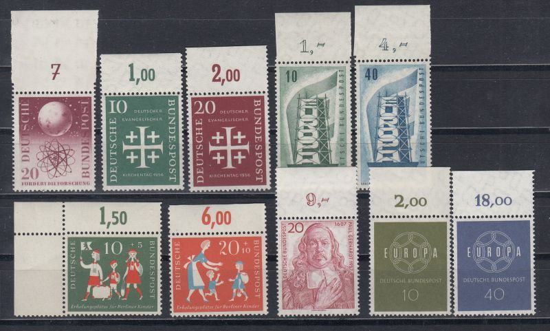 Bund Lot Oberrandstücke aus MiNo. 214 bis 321 ** (38,80)