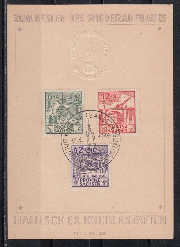 SBZ MiNo. 87A/89A auf Spendenkarte Wiederaufbau Hallischer Kulturstätten mit gl. SSt