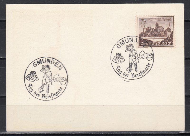 """Dt.Reich Sonderkarte """"Tag der Briefmarke 1939"""" mit rs SSt Gmunden/Tag der Briefmarke 7.1.1940 Abb Postillion"""