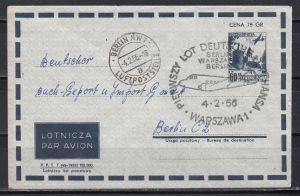 Polen Luftpostumschlag MiNo. LU 3 mit Luftpost Warschau-Berlin 4.2.56