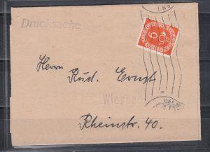 Bund Zeitungsstreifband als Orts-Drucksache Wiesbaden 1953 mit 1x 126 (20.-)