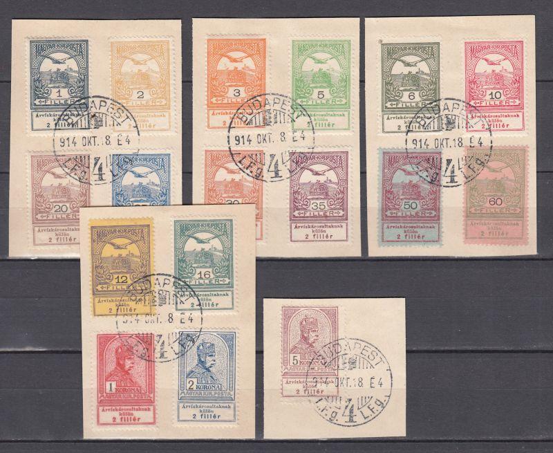 Ungarn Hochwasserhilfe Ost-Banat 1914 MiNo. 128/44 Luxus-Briefstücke o (90.-)