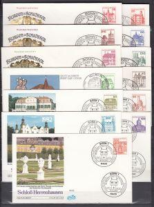 Bund Burgen&Schlösser 915AI bis 1143AI auf FDC dazu 914,915,916,918 Paare FDC + 920 Rand FDC (90.-+)