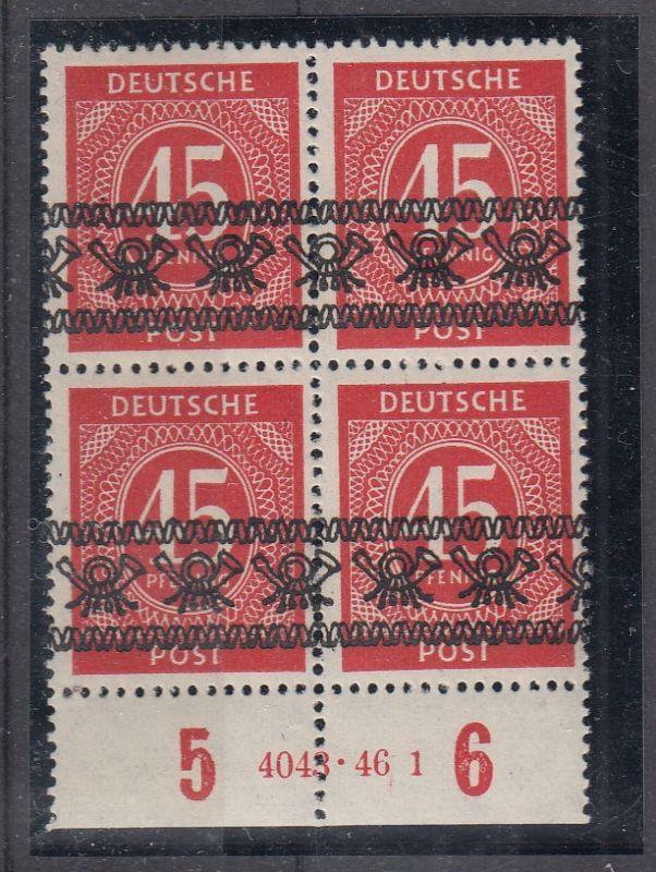 Bizone MiNo. 65I ** Unterrand-4er-Block mit HAN 4043.46 1 gpr Schlegel BPP (85.-)