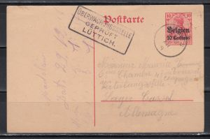 Bestzung I.WK  1916 Belgien Ganzsache MiNo. P 2 o mit Zensur-Kasten-o