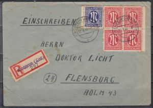 Bizone R-Brief mit Not-RZ Kirchheim (Teck) vom 22.3.46 nach Flensburg MiF 4x8z,9z