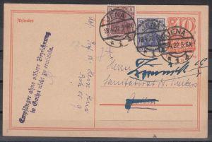 """Dt.Reich Ganzsache P 141 ZuF 140c,149 ab Jena/8.4.22 nach Gotha mit postamtlichen L2 """"Empfänger ohne ... nicht zu ermitteln"""""""