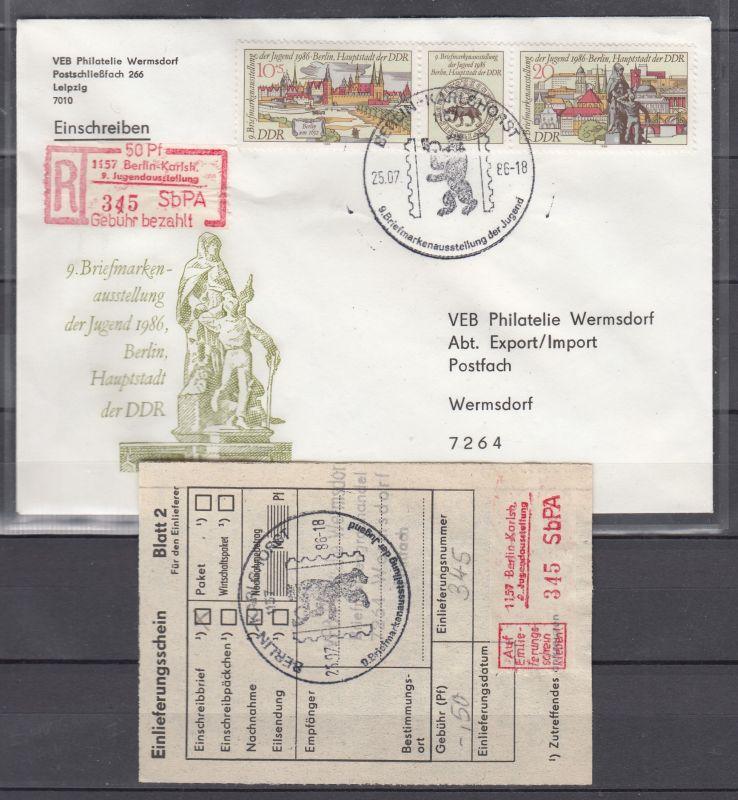 DDR R-Brief mit Streifen MiNo. 3030/31 sowie Einschreibemarke 1157 Juga und E-Schein SSt 1986