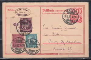 Dt.Reich Ganzsache MiNo. P 145 Frageteil zufrankiert mit 158,160,212 ab Halle/4.8.22 nach Burg, Bedarfsstück (60.-)