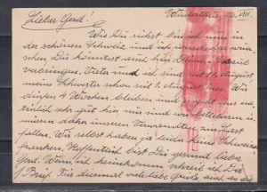 Kontrollrat/Schweiz eingehende Post, Ganzsache Schweiz P 212I/010 ZuF von Winterthur 1947 nach Berlin mit seltenem roten Zensur-o \
