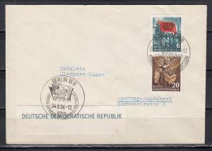 DDR 1954 Zusammendruck aus Block 8B MiNo. 386+388 auf Brief mit SSt Berlin W 8