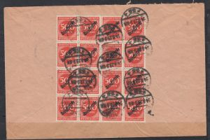 Dt.Reich INFLA-Dienstbrief  Ortspost Berlin/24.8.23 mit rückseitig 16x Dienst 81 als Einheit