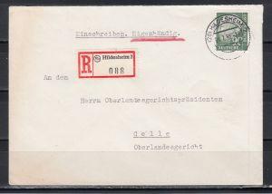 Bund Einschreiben-Eigenhändig Brief Hildesheim 4.7.56 mit 1x 193x , seltenes Porto (Götz 300.- DM)