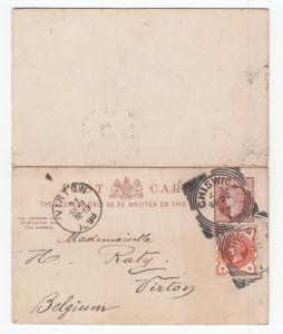 Großbritannien Doppelkarte MiNo. P 8 ZuF MiNo. 86 als Auslandskarte Chiswick/20.SP/98 nach Belgien