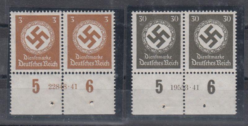 Dt.Reich Dienstmarken MiNo. 132 und 141 ** je UR-Paar mit HAN (70.-)