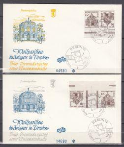 Berlin Zusammendrucke MiNo. K 4 mit HAN und KZ 2 mit MHB-Plattenrand auf 2 Briefen  vom 23.10.65