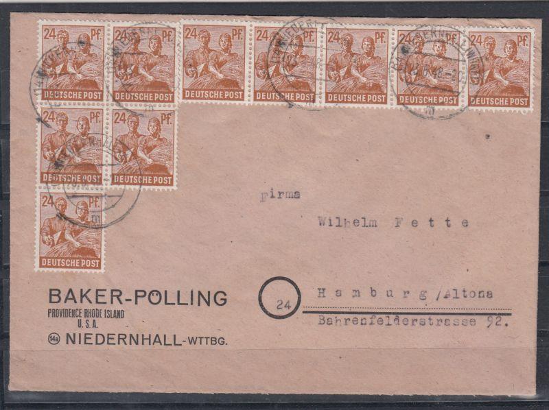 Kontrollrat Brief Niedernhall 23.6.48 zur Währungsreform mit 10-Fach-Frankatur MiNo. ZF 2c mit 10x 951 nach Hamburg (80.-)