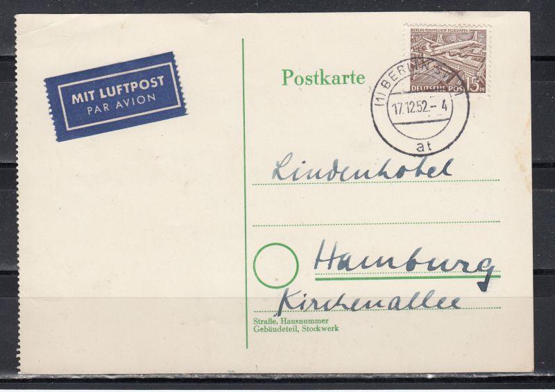 Berlin Luftpostkarte 1952 nach Hamburg mit 1x MiNo. 48 (85.-)