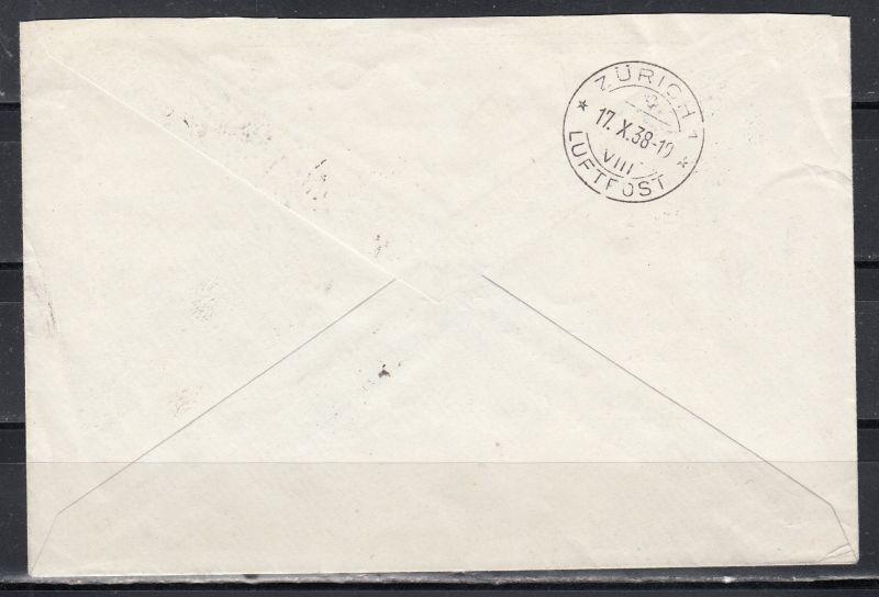 Schweiz Erster Postflug Zürich Stockholm 1938 Brief Mit 184z