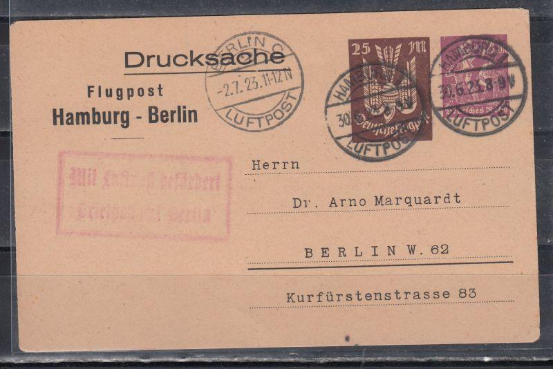 Dt.Reich Privatganzsache MiNo. PP 73/2-011 Flugpost Hamburg-Berlin 30.6.23