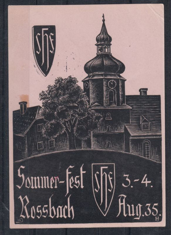 Sudetenland 1938 Sonderkarte Rossbach Sommer-Fest mit Befreiungsstempel