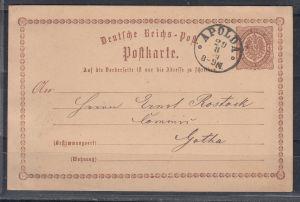 Thurn+Taxis K1 APOLDA 29.8. (1874) klar auf Dt.Reich Ganzsache P 1 in Nachverwendung