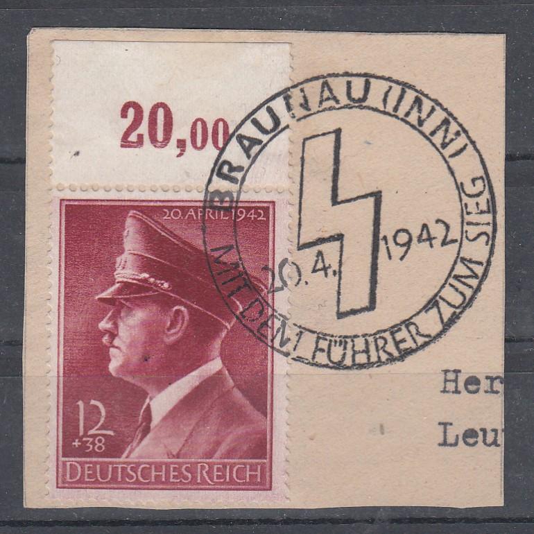 Dt.Reich MiNo. 813x Oberrand  auf Briefstück SSt Braunau (Inn) 20.4.1942