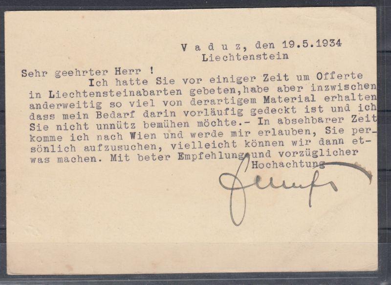 Liechtenstein Ganzsache MiNo. P 14 Bild 04 Zusatzfrankatur 68 ab Vaduz/19.V.34 nach Wien