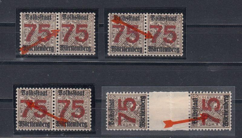 Württemberg Lot Plattenfehler mit MiNo. 271X ** PF I,II, II ZS und IV (80.-)