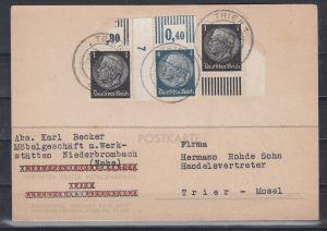 Dt.Reich Ortskarte Trier 16.5.39 MiF 2x512 + 514 Ecke Feld 1 DZ 7  im Handbuch nicht gelistet