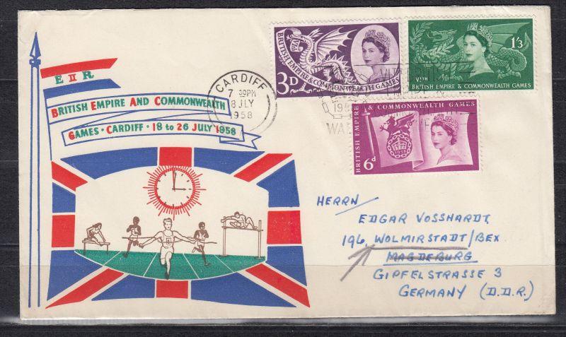 Großbritannien MiNo. 303/05 auf Ersttagsbrief Cardiff 18 JLY 1958 in die DDR (90.-)