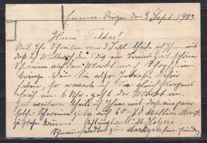 Dt.Reich Fernkarte Emmendingen/3.9.23 mit Mischfrankatur Gebühr bezahlt (hds 30000) und MiNo. 3x207,2x220,221,2x230 (75.-)