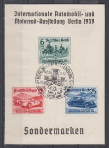 Dt.Reich IAA Berlin 1939 MiNo. 686/88 auf Sonderkarte der Deutschen Bank mit ESSt Berlin 17.2.39 (70.-)