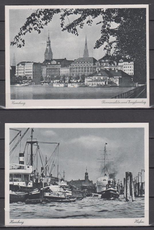 Kontrollrat SSt Hamburg 1947 Ausstellung Ernährung u. Landwirtschaft auf 2 Fotokarten Hamburg