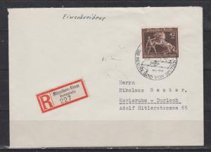 Dt.Reich MiNo. 699 auf R-Brief München-Riem Rennplatz mit SSt München \