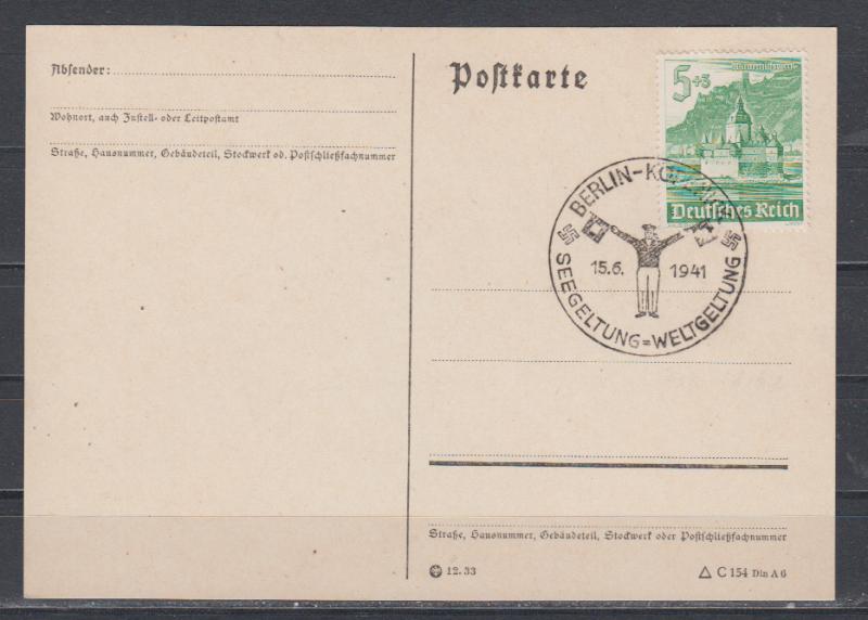 Dt.Reich SSt Berlin-Köpenick 15.6.1941 Seegeltung = Weltgeltung auf Blankokarte