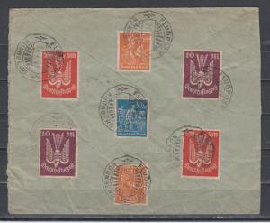 Dt.Reich INFLA-Brief mit hochwertiger Frankatur aus MiNo. 227 bis 266 entwertet mit Flugpost-o Nürnberg 27.7.23 (innen gpr echt INFLA o = 341.-)