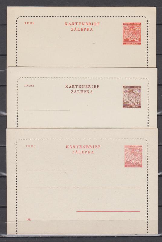 II.WK Böhmen und Mähren Kartenbriefe MiNo. K 1,2,3 ** ungebraucht (71,50)