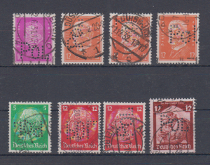 Dt.Reich Lot aus MiNo. 435 bis 567 o mit Lochung POL