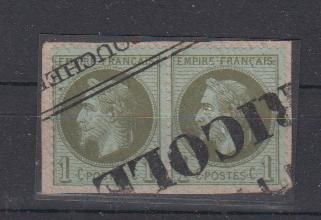 Frankreich MiNo. 24 o Paar mit Vorausentwertung auf Kab.Briefstück