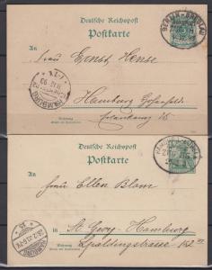 Dt.Reich 1893 und 1900 Bahnpost-o Berlin-Breslau und Hamburg-Lübeck auf  Ganzsachen