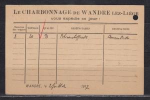 Dt.Reich Besetzung I.WK Belgien Ganzsache MiNo. P 10I ZuF 11 o Wandre 1917 mit rückseitig Firmenzudruck