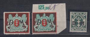 Danzig Dienstmarken MiNo. D 21X+D21Y ** und D 24Y ** (85.-)