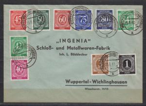 Kontrollrat philatelistischer Brief 1948 mit 911,913,929-936 (o = 50.-)