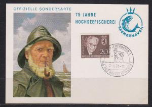 Bund SSt Bremerhaven 1961/ Tag des Hochseefischers auf gleicher Sonderkarte \