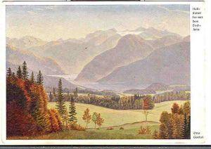 """Alte Ansichtskarte/AK/Postkarte: Otto Goebel """"Hallstätter See mit Dachstein"""""""